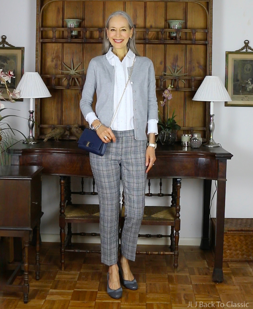 preppy-over-50-Brooks-Brothers-white-Ruffle-Shirt-Gray-cardigan-plaid-pants