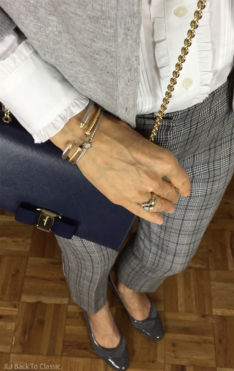 preppy-over-40-salvatore-blue-vara-bag-david-yurman-gold-cable-bracelets