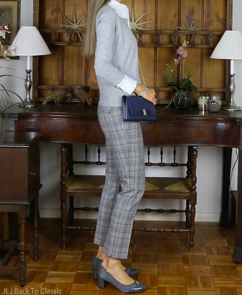 preppy-over-40-Ann-Taylor-gray-plaid-pants-cardigan-salvatore-ferragamo-vara