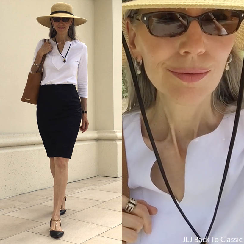 Vlog-Ralph-Lauren-White-Shirt-Ann-Taylor-Black-Pencil-Skirt-Lunch-Nordstrom-Naples