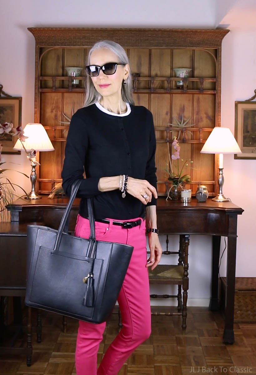 classic-fashion-over-40-talbots-black-cardigan-pink-jeans-janis-lyn-johnson
