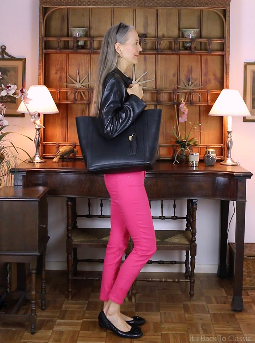 classic-fashion-style-over-40-ann-taylor-black-leather-jacket-pink-jeans