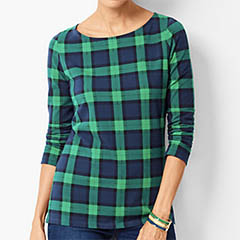 talbots-green-blue-plaid-cotton-top