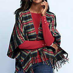 talbots-red-black-tartan-plaid-ruana-cotton-acrylic
