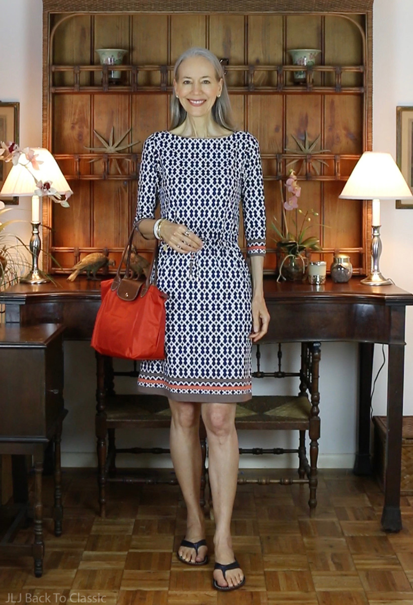 navy-white-j.mclaughlin-marianne-dress-longchamp-le-pliage-tote-bernardo-miami-sandals
