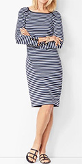 talbots-three-quarter-sleeve-indigo-white-and-ultramarine-blue-stripe-shift-dress