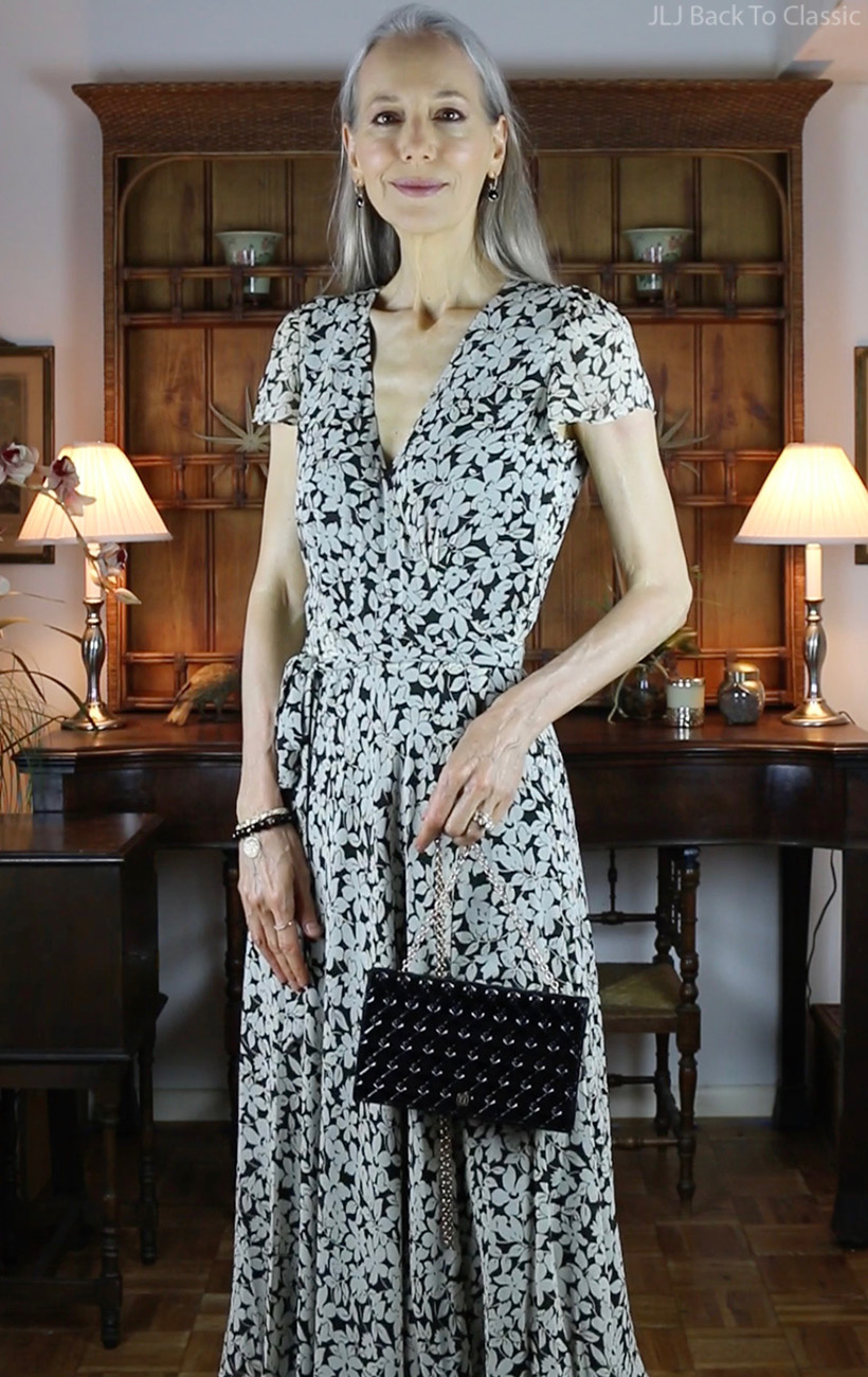classic-style-Ralph-Lauren-Black-White-Wrap-Dress-Janis-Lyn-Johnson