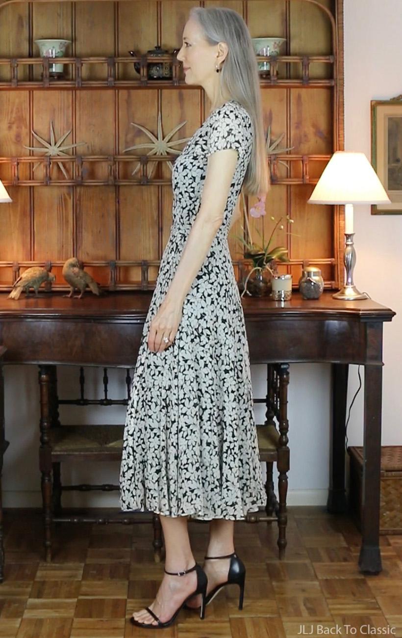 classic-style-Ralph-Lauren-Black-White-Wrap-Dress-Stuart-Weitzman-Nudistsong-Sandals
