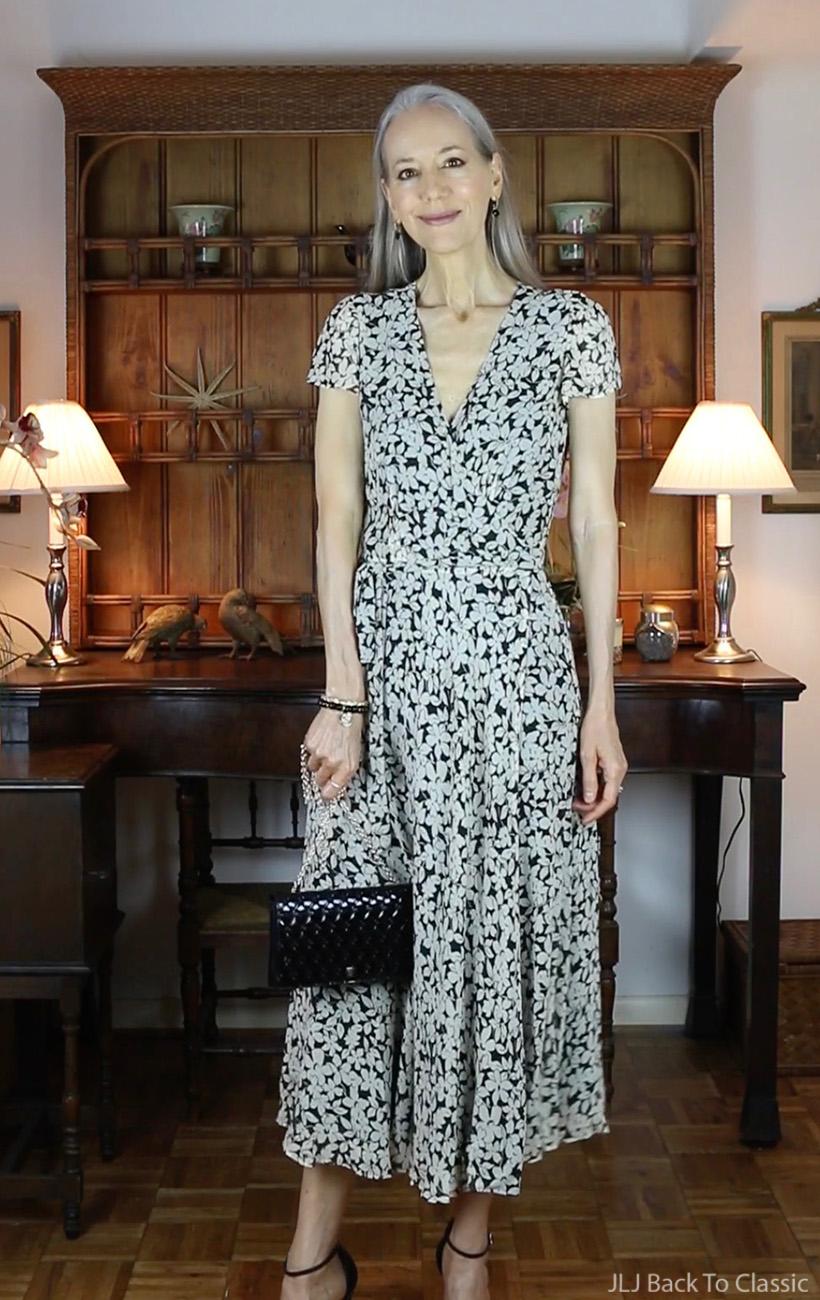 classic-style-Ralph-Lauren-Black-White-Wrap-Dress-Fendi-Black-Patent-Shoulder-Bag