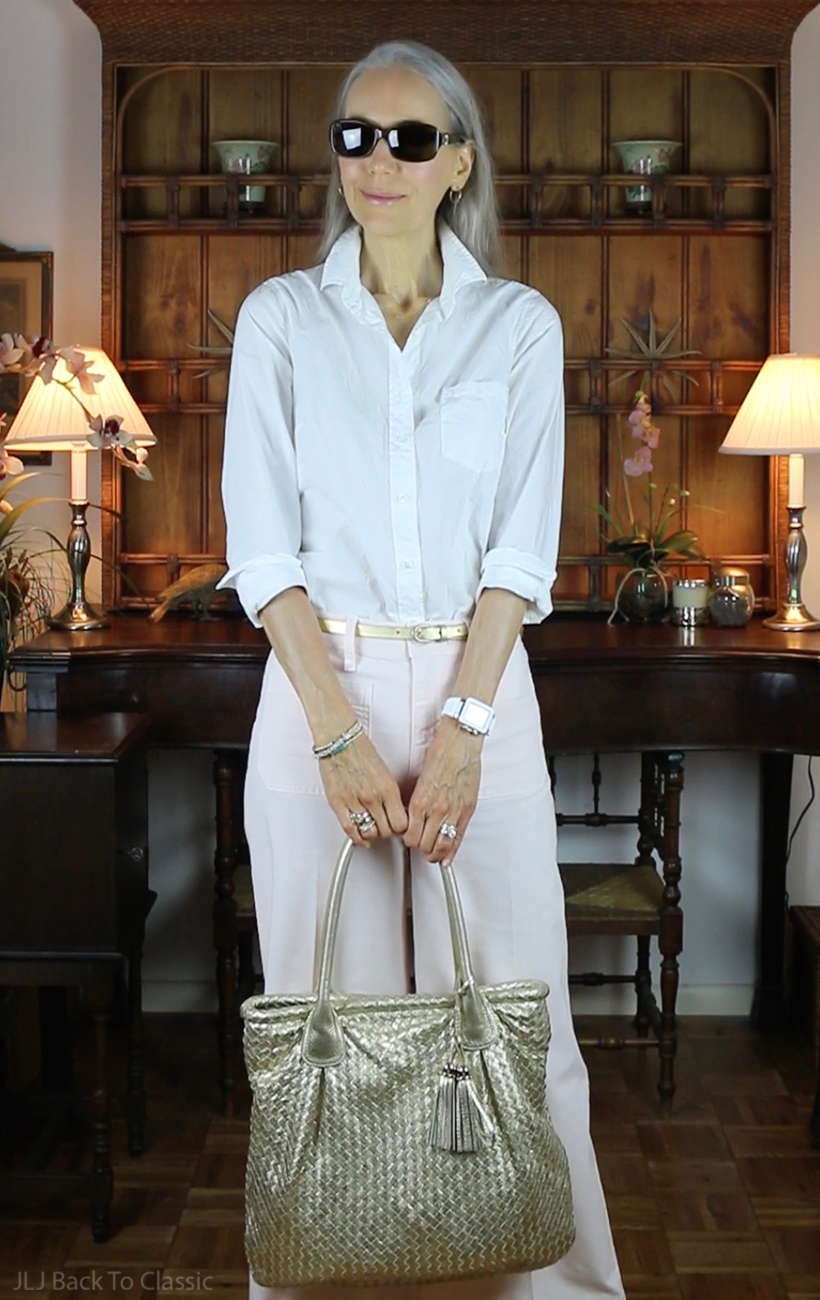 J.Crew-White-Shirt-Pink-Wide-Leg-Cropped-Pants-Gold-Elliott-Lucca-Tote