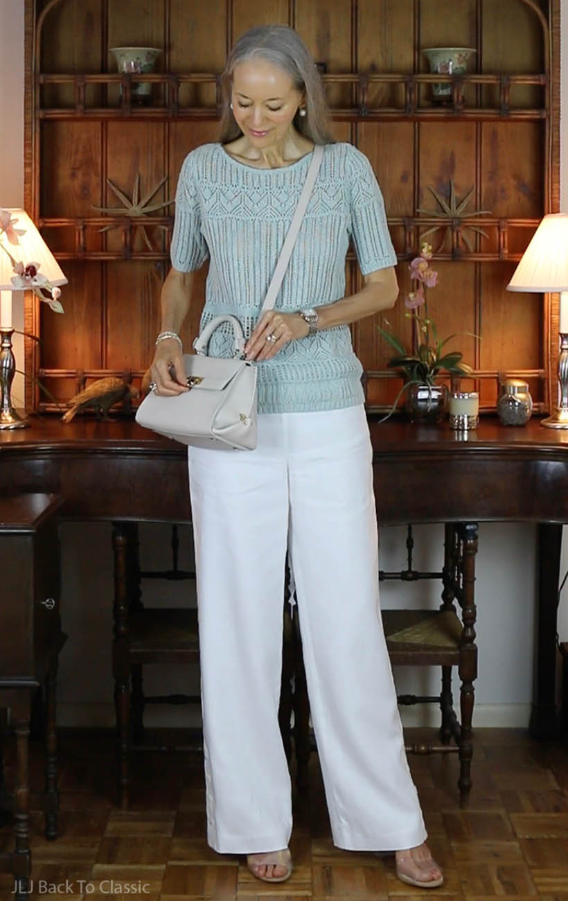 Classic-Fashion-Over-50-Mint-Sweater-White-Palazzo-Pants-Salvatore-Ferragamo-Sofia