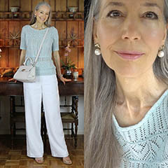 White-Linen-Pallazo-Pant-Mint-Sweater-Salvatore-Ferragamo-Sofia-Janis-Lyn-Johnson
