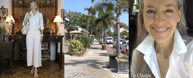 vlog-over-50-white-shirt-cropped-pink-pants-ootd-lunch-third-street-naples-fla