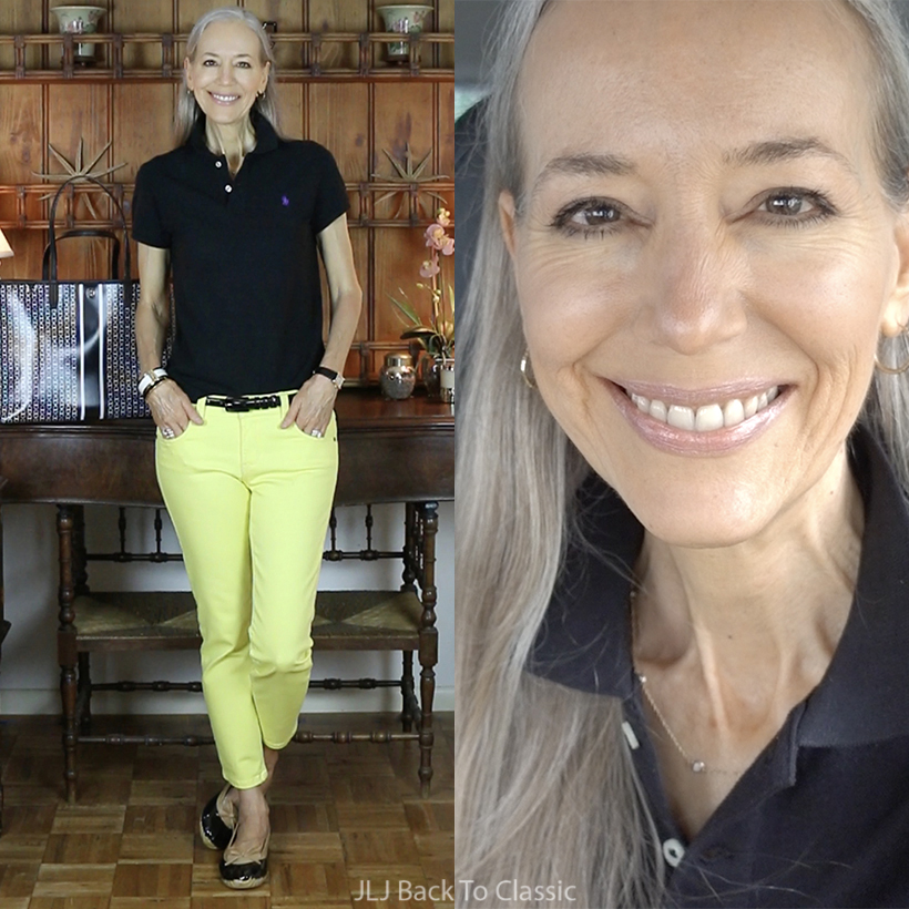 ralph-lauren-black-polo-shirt-yellow-jeans-tory-burch-gemini-link-tote-vlog