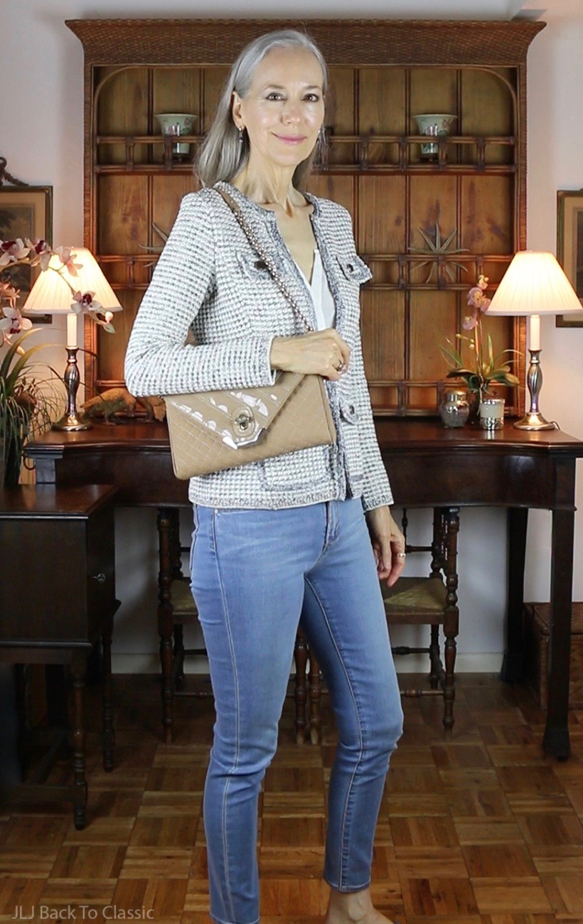 Talbots-Tweed-Blazer-and-Skinny-Jeans-Brooks-Brothers-Quilted-Suede-Shoulder-Bag