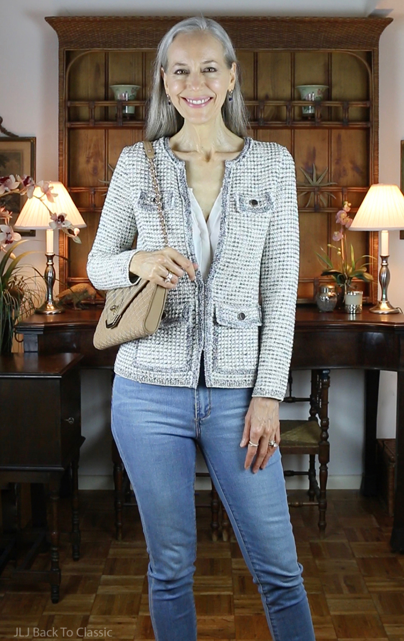 Classic-Fashion-Over-40-Tweed-Blazer-Skinny-Jeans-Brooks-Brothers-Shoulder-Bag