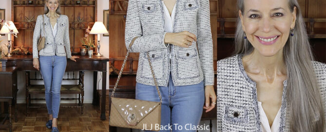 Tweed-Blazer-and-Skinny-Jeans-OOTD-What's-In-My-Brooks-Brothers-Quilted-Suede-Classic-Flap-Shoulder-Bag