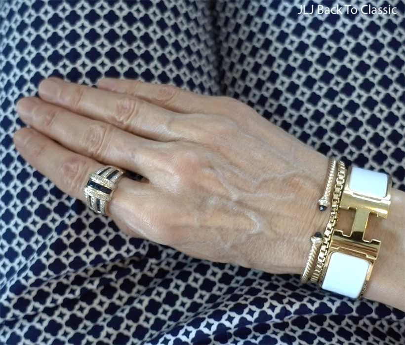 classic-style-hermes-white-clic-clac-h-david-yurman-cable-spira-bracelets