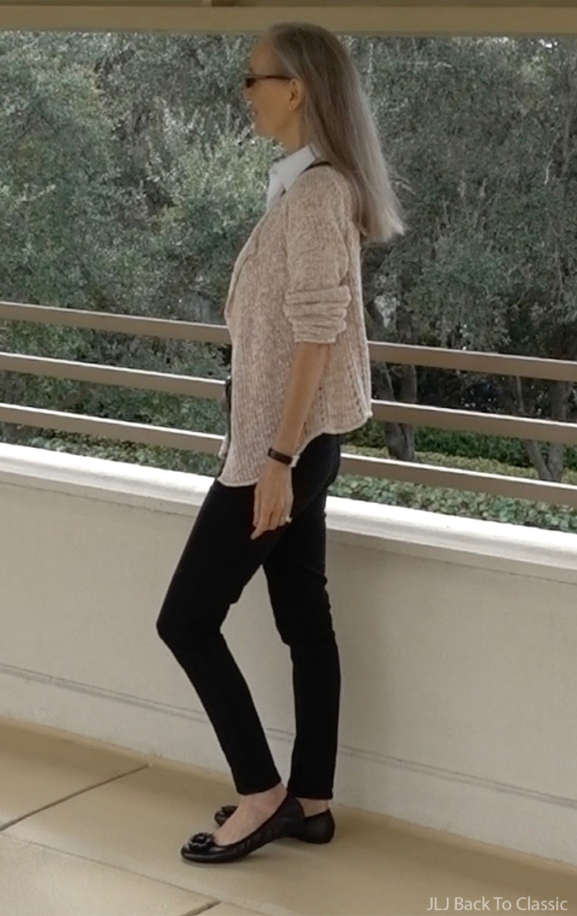 Classic-Style-Talbots-black-jeggings-Gap-Beige-Chunky-Cardigan-Black-Ballet-Flats