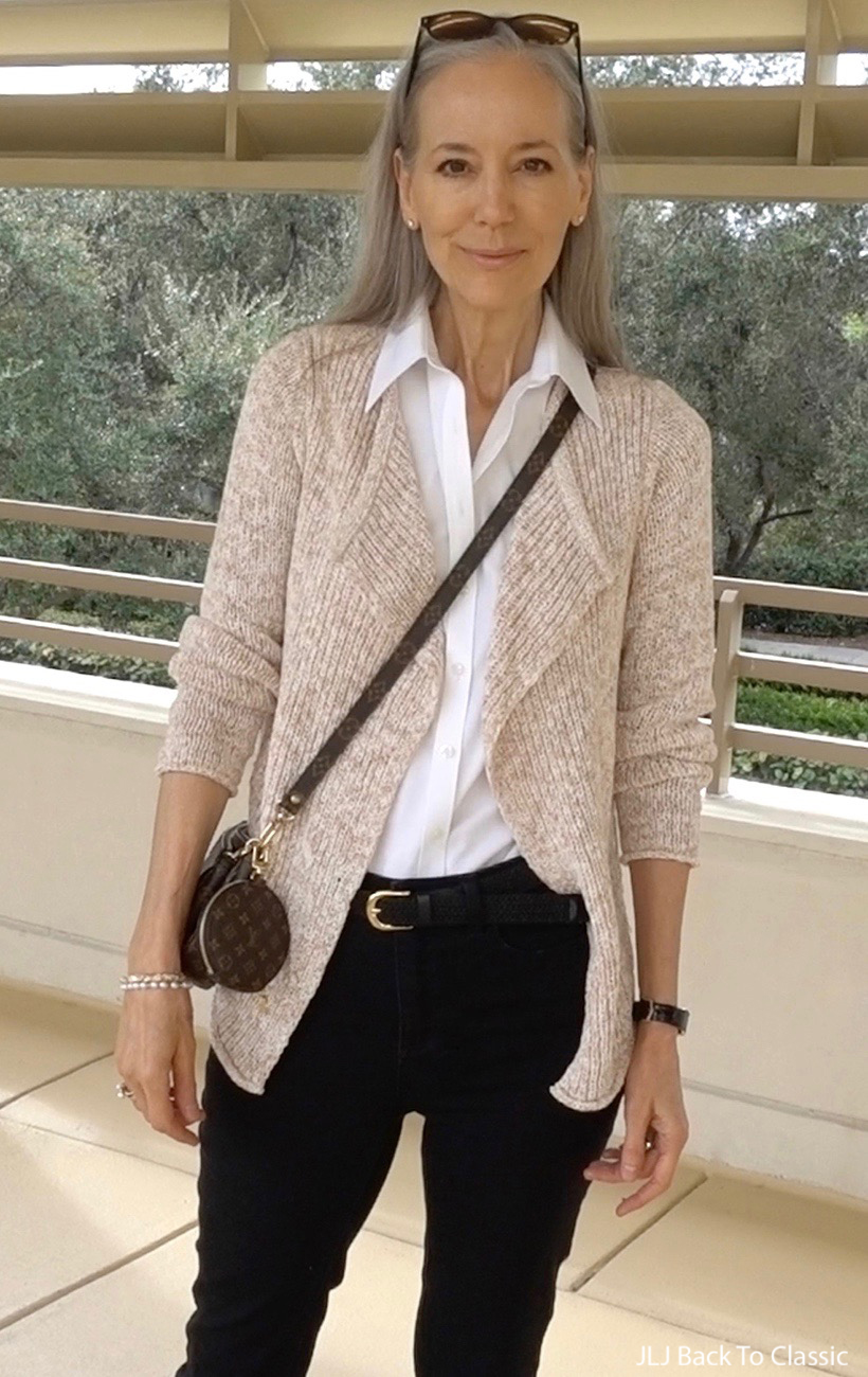 louis-vuitton-multi-pochette-accessoires-brooks-brothers-white-shirt-Gap-chunky-Cardigan