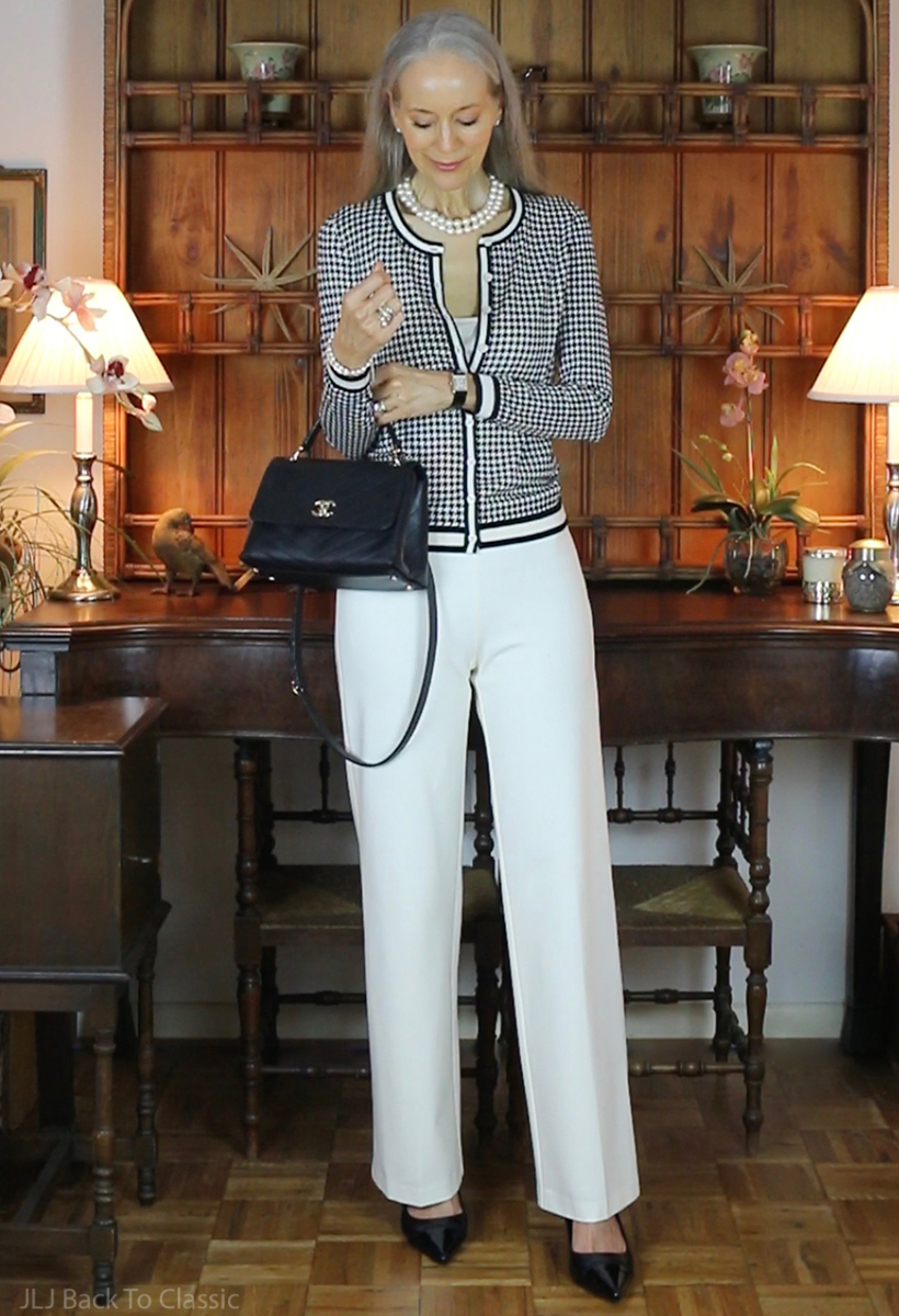 talbots-houndstooth-cardigan-j.mclaughlin-ivory-pants-chanel-chevron-chic-top-handle-bag