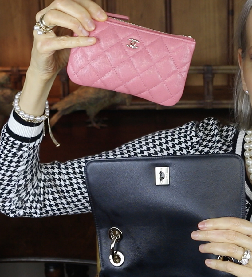 Chanel-pink-classic-small-pouch-inside-chanel-chevron-chic-top-handle-bag