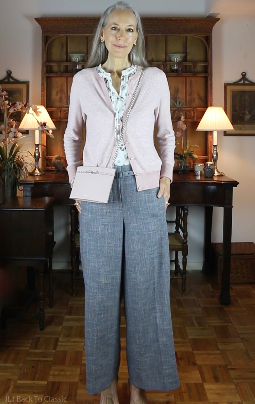 classic-fashion-over-50-ann-taylor-blush-cardigan-gray-wide-leg-pants