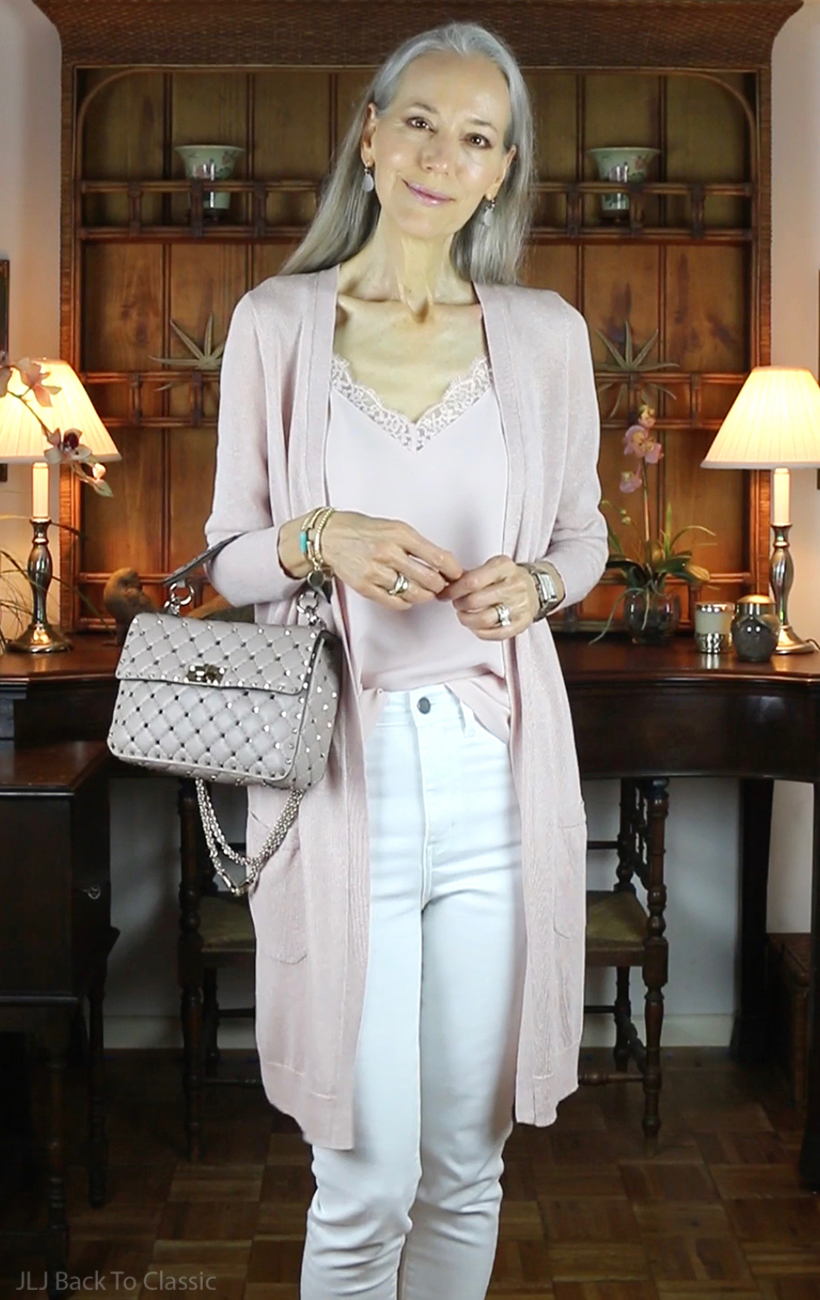 blush-long-cardigan-camisole-white-skinny-jeans-valentino-rockstud-spike-bag-poudre