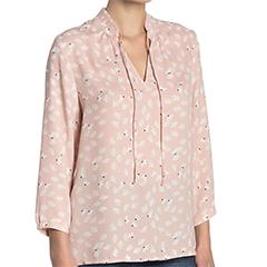 halogen-three-quarter-sleeve-pleated-neck-keyhole-blouse-pink-smoke