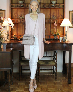 blush-long-cardigan-camisole-white-skinny-jeans-valentino-rockstud-spike-bag-poudre-IG