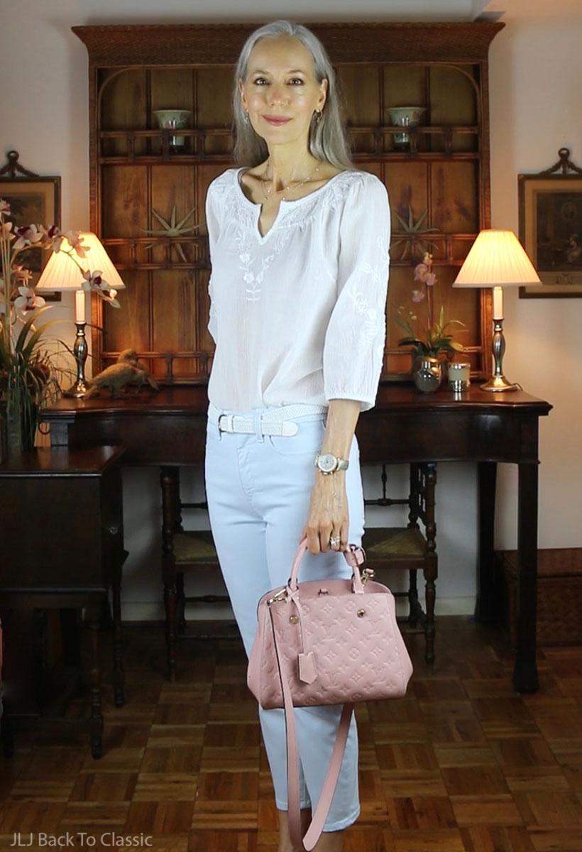 louis-vuitton-montaigne-bb-cropped-jeans-peasant-top-Janis-Lyn-Johnson