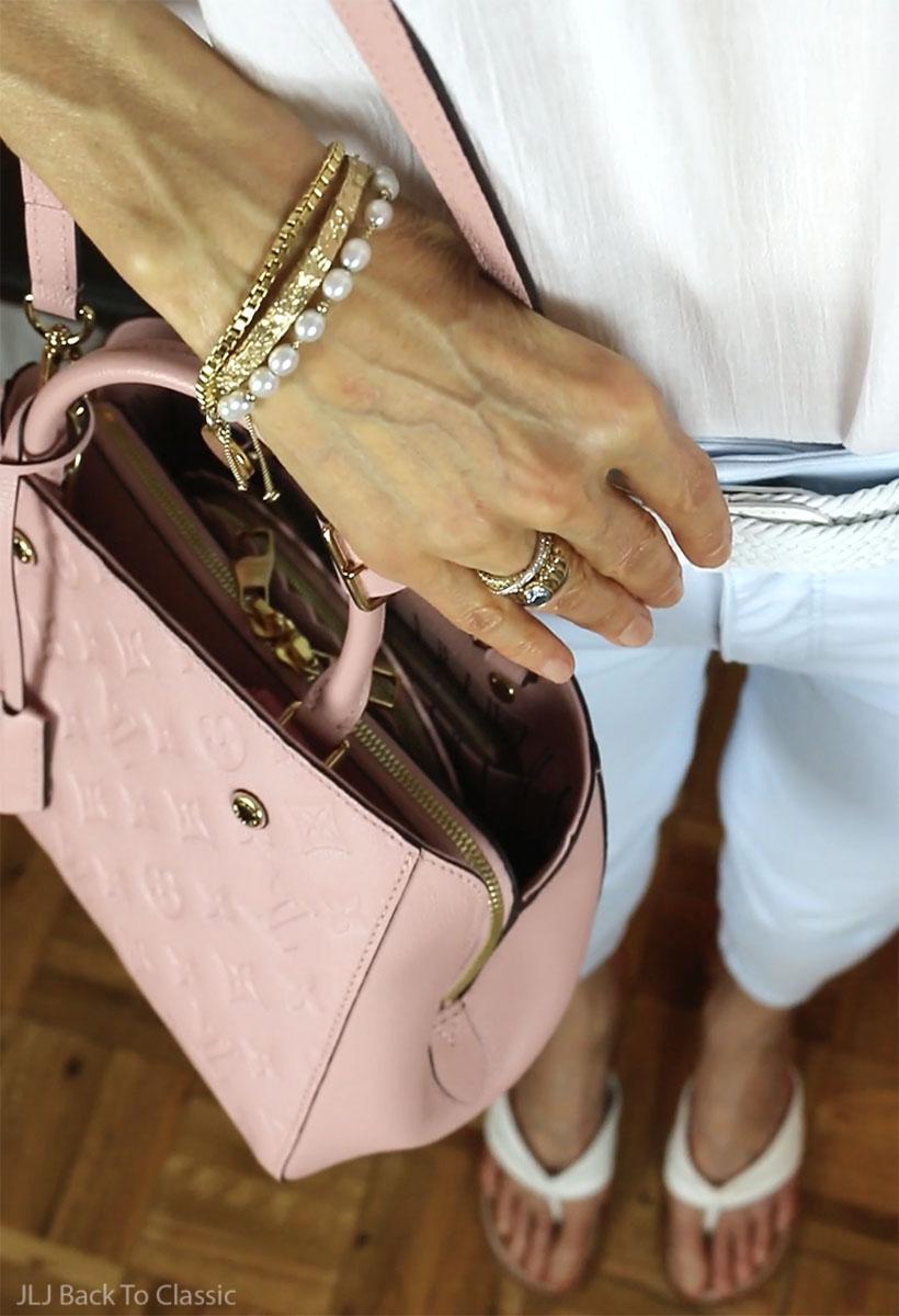 classic-style-over-50-louis-vuitton-montaigne-bb-David-Yurman-spiritual-pearl-bracelet.