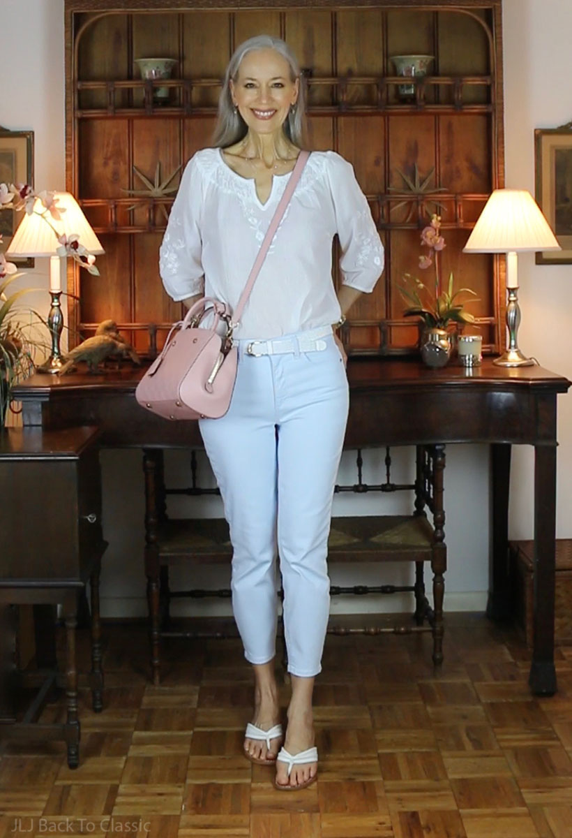 classic-style-over-50-louis-vuitton-montaigne-bb-cropped-jeans-peasant-top.