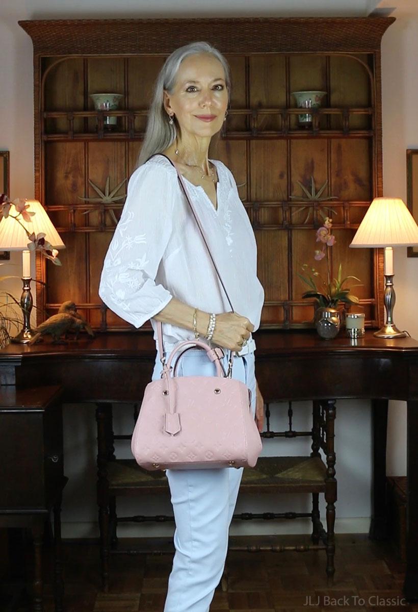 louis-vuitton-montaigne-bb-rose-poudre-empreinte-leather-review-what-fits-outfit