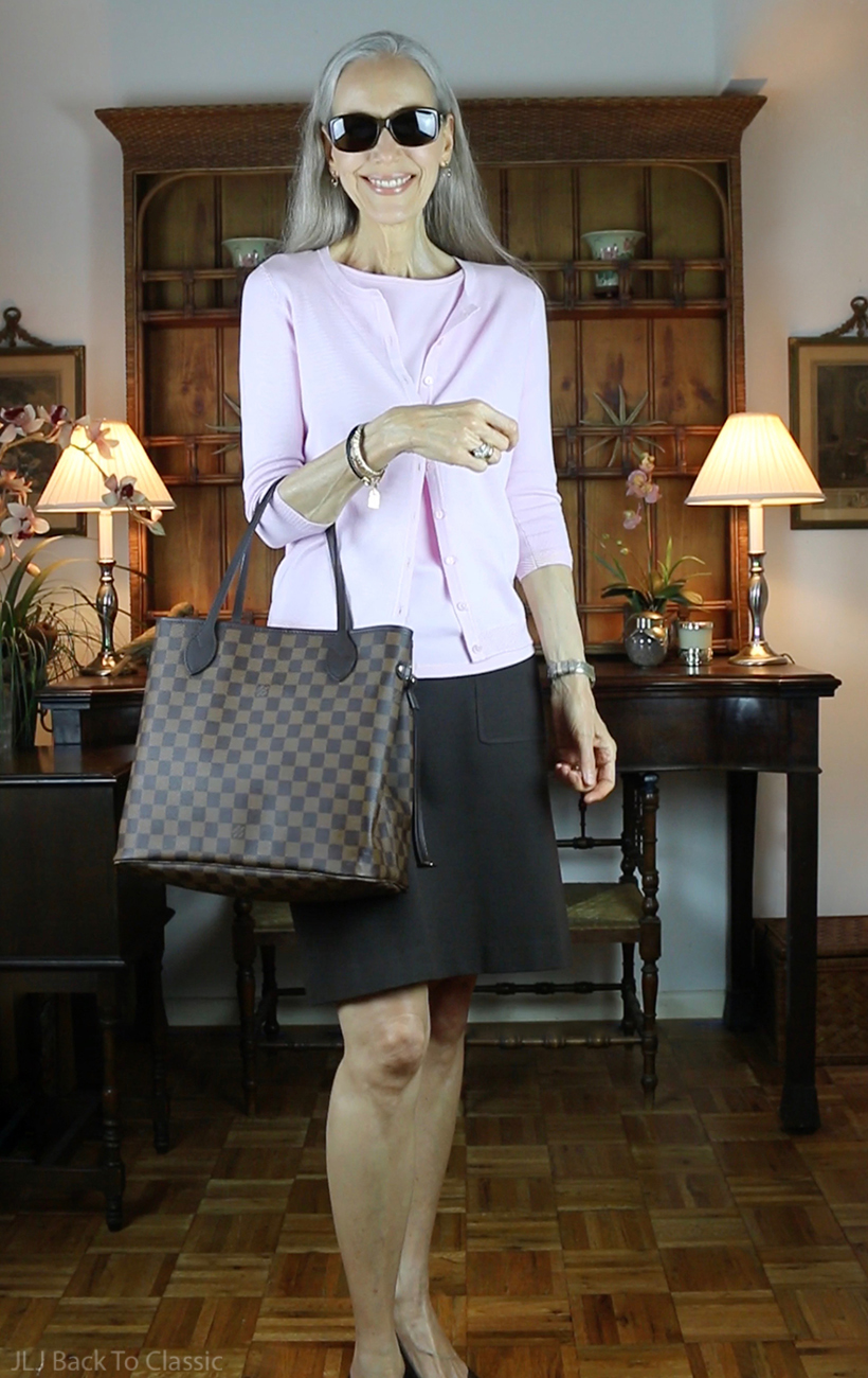 louis-vuitton-damier-ebene-neverfull-mm-pink-sweaterset-brown-skirt-ootd