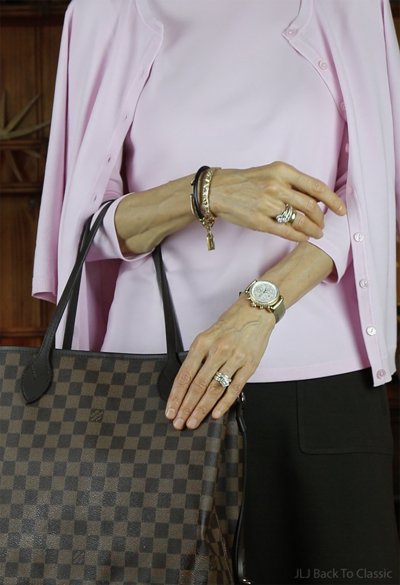 michele-mother-of-pearl-diamond-dial-chronograph-watch-louis-vuitton-damier-ebene-neverfull-mm